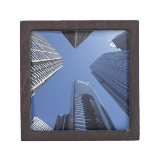 Low angle upward exterior view of downtown premium trinket boxes