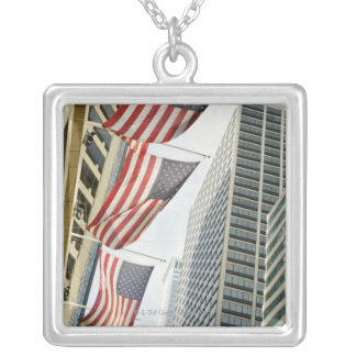 Low angle view at American flags in downtown Silver Plated Necklace