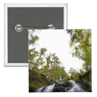 Low Angle View of a Waterfall with Sky view 15 Cm Square Badge