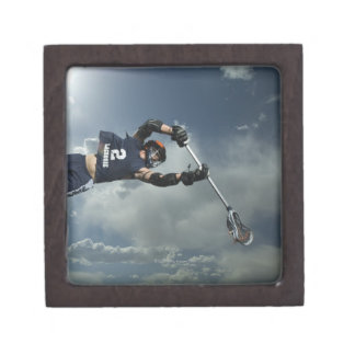 Low angle view of jai-alai player jumping premium keepsake box