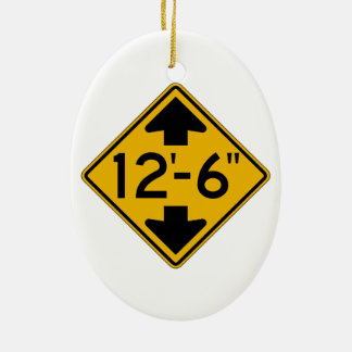 Low Clearance English, Traffic Warning Sign, USA Christmas Ornament
