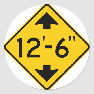Low Clearance Warning Highway Sign Round Sticker