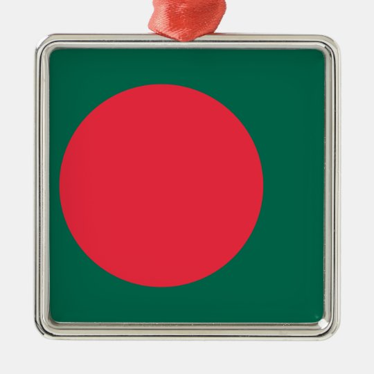 Low Cost! Bangladesh Flag Silver-Colored Square Decoration