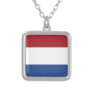Low Cost! Caribbean Netherlands Flag Silver Plated Necklace