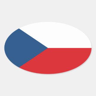 Low Cost! Czech Republic Flag Oval Sticker