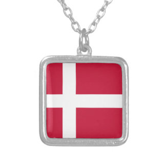 Low Cost! Denmark Flag Silver Plated Necklace