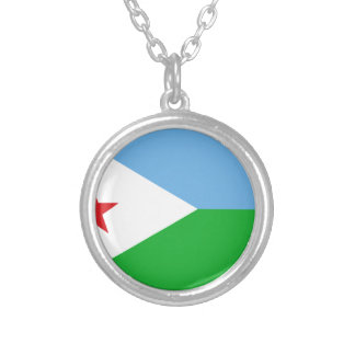 Low Cost! Djibouti Flag Silver Plated Necklace