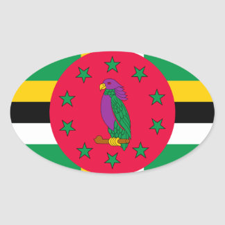Low Cost! Dominica Flag Oval Sticker