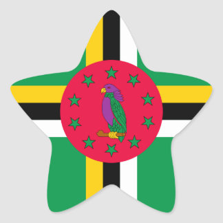 Low Cost! Dominica Flag Star Sticker