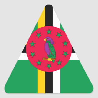 Low Cost! Dominica Flag Triangle Sticker