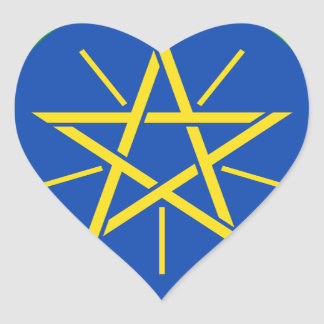 Low Cost! Ethiopia Flag Heart Sticker
