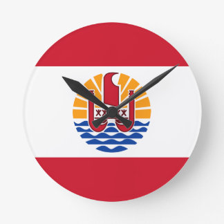 Low Cost! French Polynesia Flag Round Clock