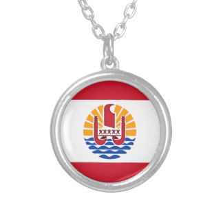 Low Cost! French Polynesia Flag Silver Plated Necklace