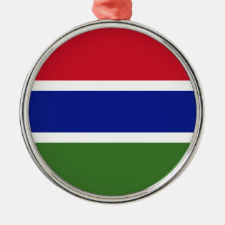 Low Cost! Gambia Flag Silver-Colored Round Decoration