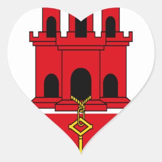 Low Cost! Gibraltar Flag Heart Sticker