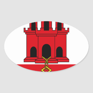 Low Cost! Gibraltar Flag Oval Sticker