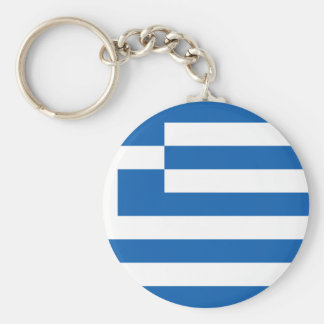 Low Cost! Greece Flag Basic Round Button Key Ring