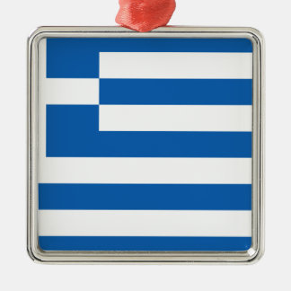 Low Cost! Greece Flag Silver-Colored Square Decoration