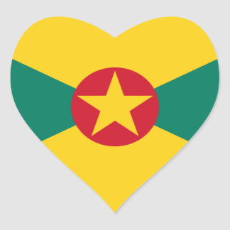 Low Cost! Grenada Flag Heart Sticker