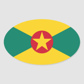 Low Cost! Grenada Flag Oval Sticker