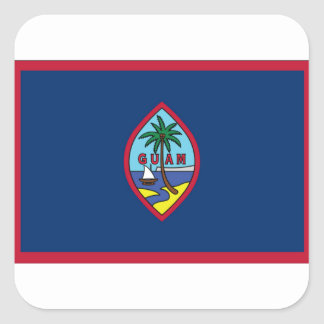 Low Cost! Guam Flag Square Sticker