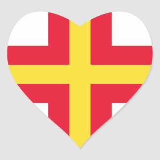 Low Cost! Guernsey Flag Heart Sticker