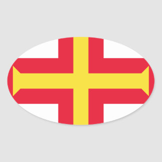 Low Cost! Guernsey Flag Oval Sticker