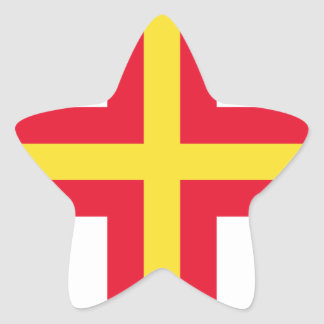 Low Cost! Guernsey Flag Star Sticker