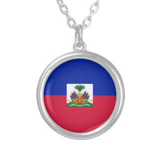 Low Cost! Haiti Flag Silver Plated Necklace