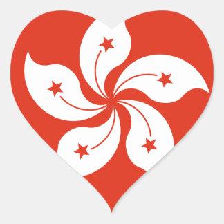 Low Cost! Hong Kong Flag Heart Sticker
