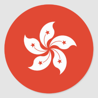 Low Cost! Hong Kong Flag Round Sticker