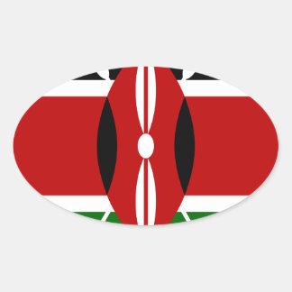 Low Cost! Kenya Flag Oval Sticker