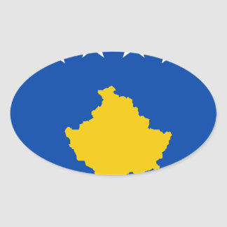 Low Cost! Kosovo Flag Oval Sticker