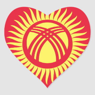Low Cost! Kyrgyzstan Flag Heart Sticker