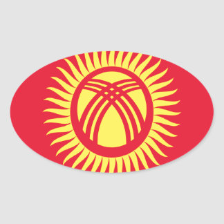 Low Cost! Kyrgyzstan Flag Oval Sticker