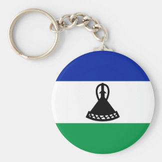 Low Cost! Lesotho Flag Basic Round Button Key Ring