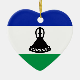 Low Cost! Lesotho Flag Ceramic Heart Decoration
