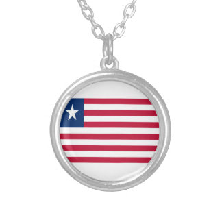 Low Cost! Liberia Flag Silver Plated Necklace