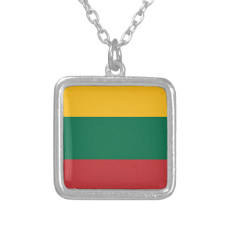 Low Cost! Lithuania Flag Silver Plated Necklace