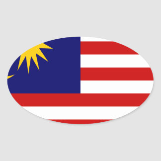 Low Cost! Malaysia Flag Oval Sticker