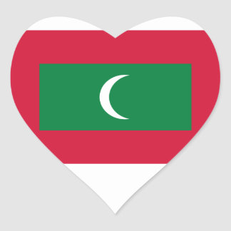 Low Cost! Maldives Flag Heart Sticker