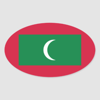 Low Cost! Maldives Flag Oval Sticker