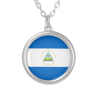 Low Cost! Nicaragua Flag Silver Plated Necklace