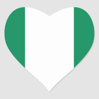 Low Cost! Nigeria Flag Heart Sticker