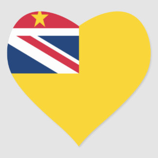 Low Cost! Niue Flag Heart Sticker