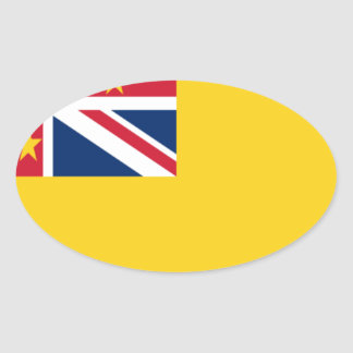 Low Cost! Niue Flag Oval Sticker