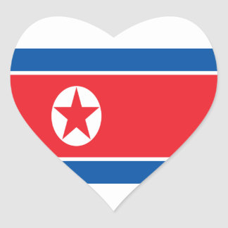 Low Cost! North Korea Flag Heart Sticker