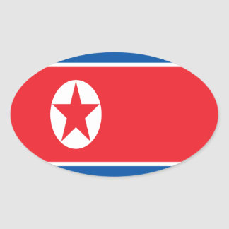 Low Cost! North Korea Flag Oval Sticker