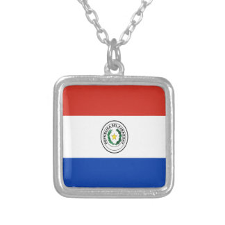 Low Cost! Paraguay Flag Silver Plated Necklace