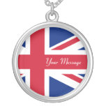 Low Cost Union Jack Flag Sterling Silver Necklace